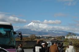 バスと富士山
